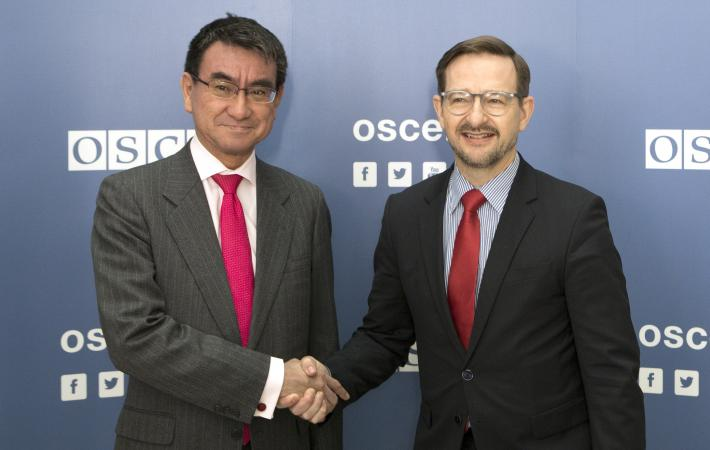 The first-ever visit by a foreign minister of Japan, the OSCE's oldest Asian Partner for Co-operation, to the OSCE Secretariat took place on 15 February 2018, when Foreign Minister Tarō Kōno met with OSCE Secretary General Thomas Greminger in Vienna.
