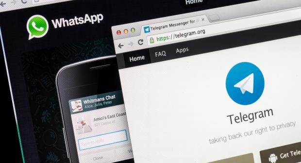 A close-up of WhatsApp and Telegram on a monitor screen.  (IStock)