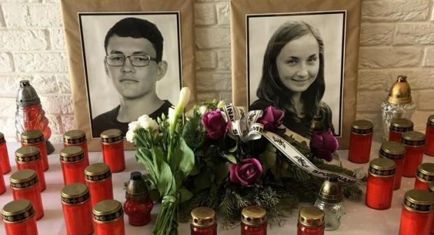 A tribute to Slovak investigative journalist Ján Kuciak and his fiancée Martina Kušnírová in Bratislava, killed on 21 February 2018. (OSCE)