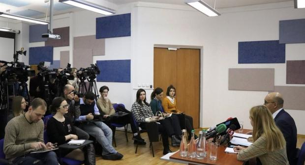 OSCE Representative on Freedom of the Media Harlem Désir answers questions from journalists during a visit to Kyiv, Ukraine, 6 February 2020. (Svitlana Dotsenko/OSCE)