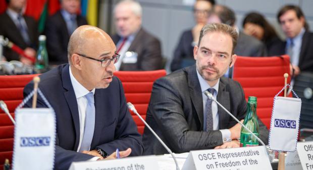 OSCE Representative on Freedom of the Media Harlem Désir (l) reporting to Permanent Council, Vienna, 9 November 2017.  (OSCE/Salko Agovic)
