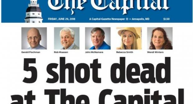 Capital Gazette front page. Staff at the Capital Gazette newspaper published an edition the day after five of their colleagues were shot dead at work. (Twitter: Capital Gazette)