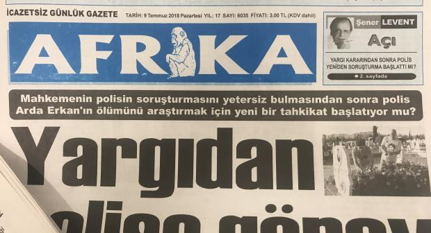 Picture of the cover of Turkish-Cypriot newspaper Afrika. (OSCE)