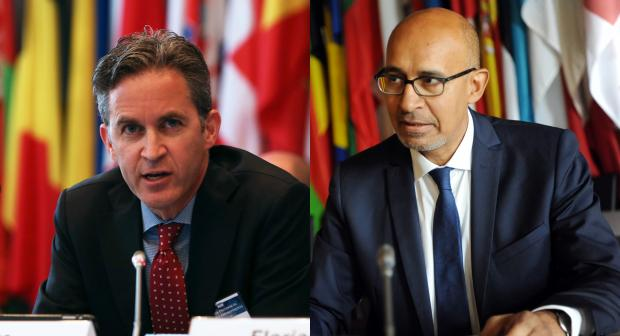 A composite image showing UN Special Rapporteur on the promotion and protection of the right to freedom of opinion and expression David Kaye and OSCE Representative on Freedom of the Media Harlem Désir.  (OSCE/Julia Shropshire/Micky Kroell)