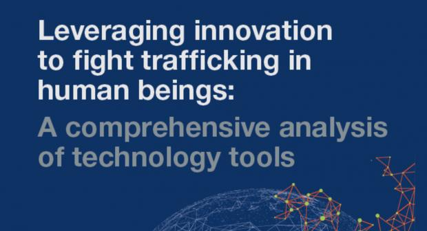 "Front-cover of the paper: ""Leveraging innovation to fight trafficking in human beings: a comprehensive analysis of technology tools"". (OSCE)"