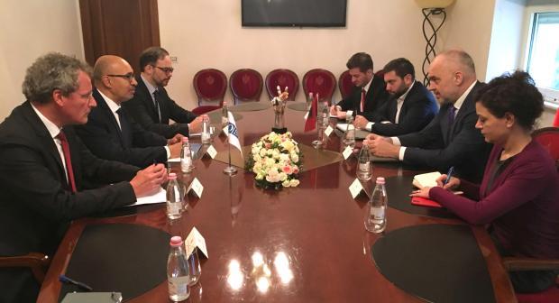 OSCE Representative on Freedom of the Media Harlem Désir meeting Prime Minister of Albania, Edi Rama, Tirana, 13 February 2018.  (OSCE/Adis Mustedanagic)