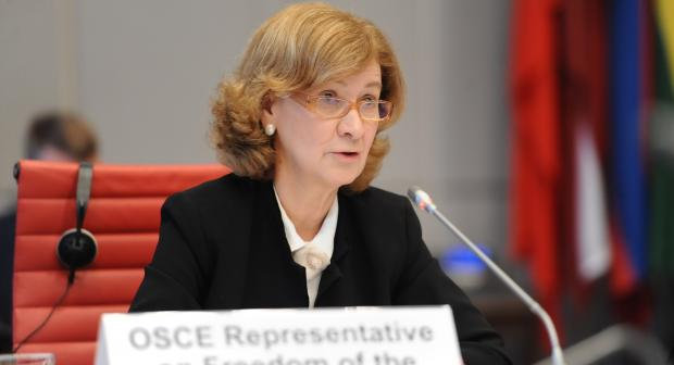 OSCE Representative on Freedom of the Media Teresa Ribeiro presenting her biannual report to the OSCE Permanent Council on 13 May 2021 (Micky Kroell/OSCE)