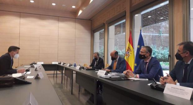Val Richey, OSCE Special Representative for Combating Trafficking in Human Beings, meeting with the Spanish  National Anti-Human Trafficking Authorities, Madrid, 2 March 2021. (OSCE)