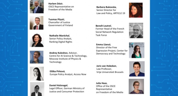 """Speakers of the event on """"The rise of artificial intelligence and how it will reshape the future of free speech"""", organized by the OSCE Representative on Freedom of the Media, 8 July 2020. (OSCE)"""