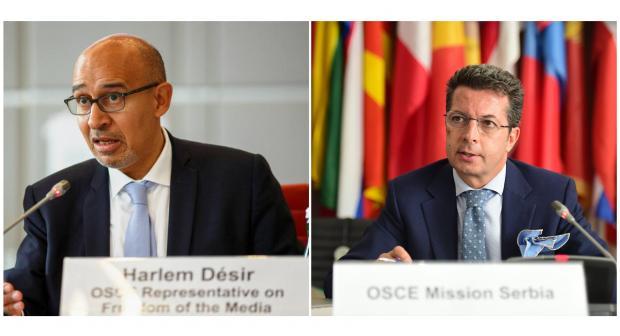 Harlem Désir (l), OSCE Representative on Freedom of the Media, and Andrea Orizio, Head of the OSCE Mission to Serbia. (OSCE)