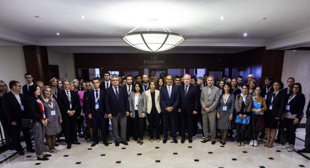 Participants of the 16th South Caucasus Media Conference pose for a group photo, Tbilisi, 9 October 2019. (Leli Blagonravova)