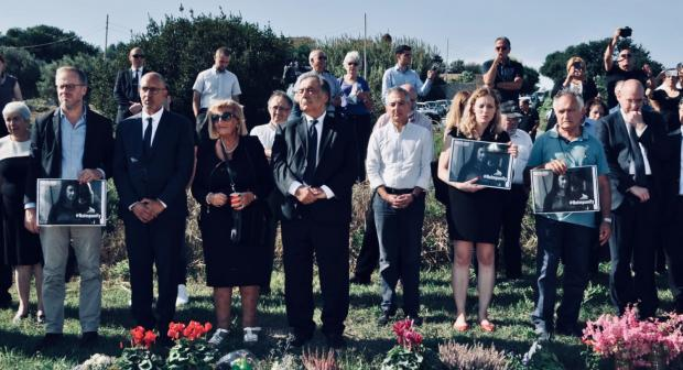 Representative on Freedom of the Media Harlem Désir takes part in ceremonies commemorating the two-year anniversary of the assassination of investigative journalist Daphne Caruana Galizia, 16 October 2019, Malta.  (Robin Grassi/RSF)